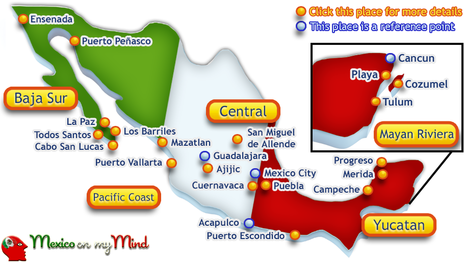 mexico map of places to live